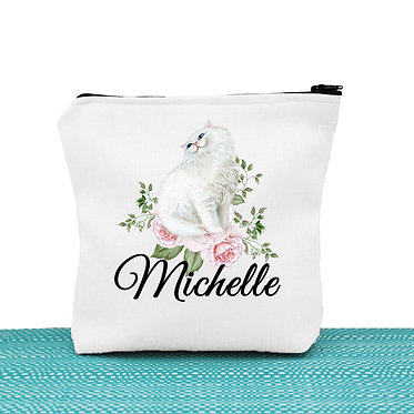 White cosmetic toiletry bag with zipper personalized with name and white cat with flowers image front view