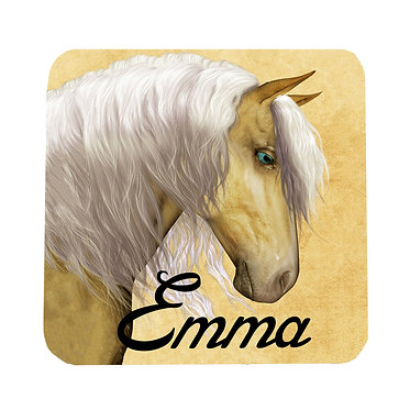Personalised neoprene drink coaster palomino horse image front view