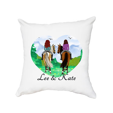 Personalised white cushion with zip best friends horse riding image front view