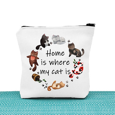 Cat theme cosmetic toiletry bag white home is where my cat is image front view