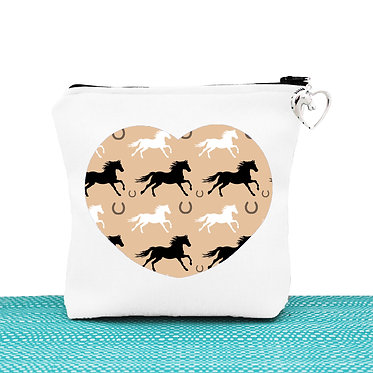 Tan cosmetic toiletry bag with zipper horse pattern image front view