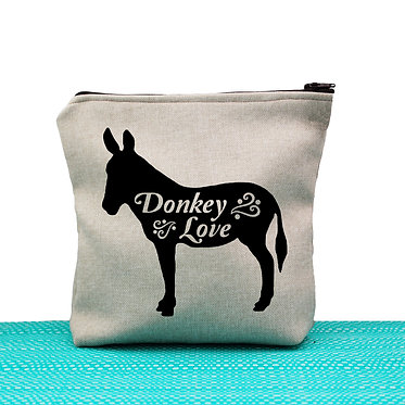Tan cosmetic toiletry bag with zip donkey love image on front