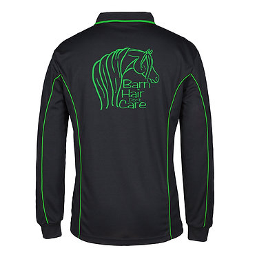 Adults long sleeve polo shirt black green barn hair don't care horse image back view