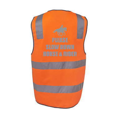 Orange hi-vis saftey vest with hook and loop fastner on front  please slow down horse and rider back view