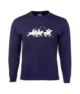 Men's long sleeve t-shirt horse polo players navy with white image front view