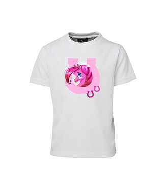 Kids white t-shirt with pink pony in horse shoe front view