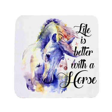 Neoprene drink coaster with life is better with a horse image front view