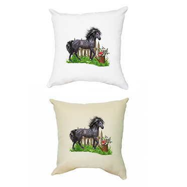 White and a tan cushion covers with black horse theme front view