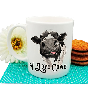 Ceramic coffee mug i love cows front view