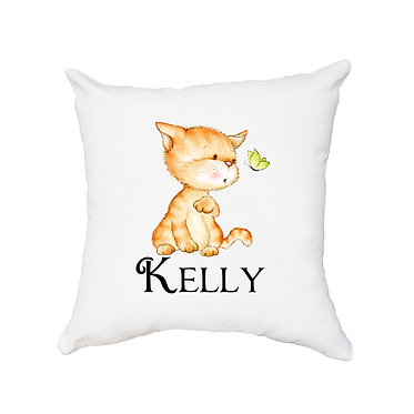 Personalized white cushion cover with zip 40cm x 40cm with name and cute kitty and butterfly image front view