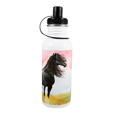 Stainless steel water bottle with black horse image front view