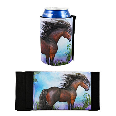 Neoprene stubby cooler with horse in forest image front and flat view