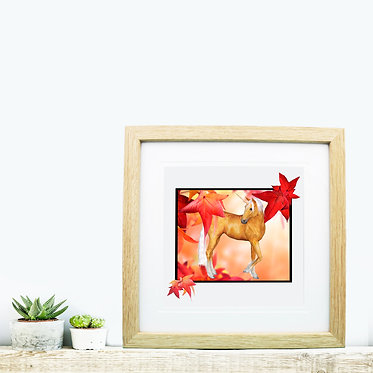 Square wood picture frame unicorn in autumn leaves image front view