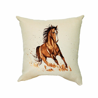 White cushion cover with zip brown horse cantering image front view