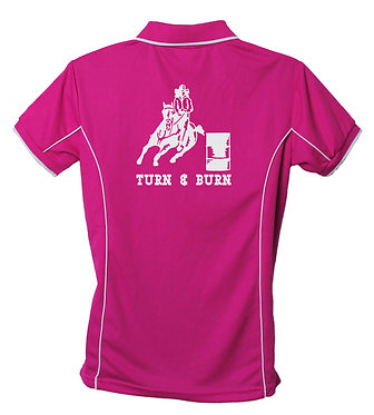 Hot Pink Polo Shirt Back View Horse Image