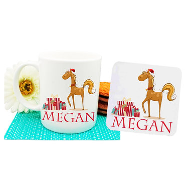 Personalized Christmas horse coffee mug and coaster set front view