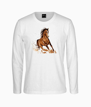 Adults long sleeve t-shirt white with a cantering brown horse image front view