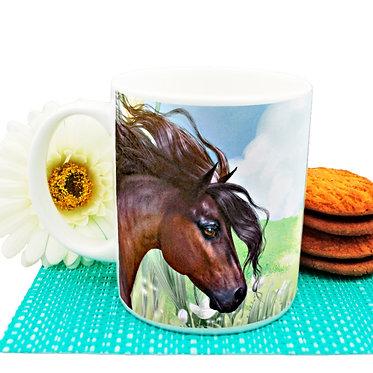 Beautiful horse ceramic coffee mug front view