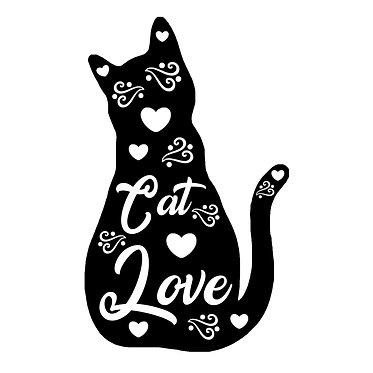 Cat vinyl decal sticker cat love in black front view