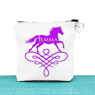 Cosmetic toiletry bag with zipper personalised with horse on scroll purple image front view