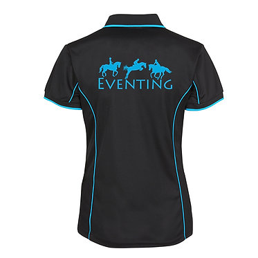 Ladies horse pipping polo shirt black aqua eventing horse image back view