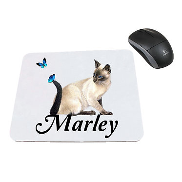 Personalized computer mouse pad with cat with butterflies image front view