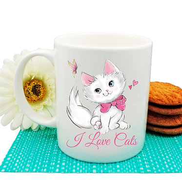 """Ceramic coffee mug pink kitty and quote """"I love cats"""" image front view"""