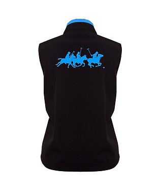 Black with aqua accents and polo players image ladies vest back view