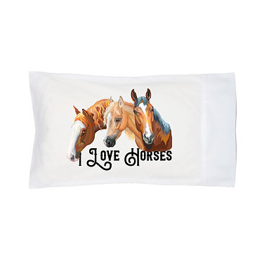 Pillowcase white with I love horses image front right view