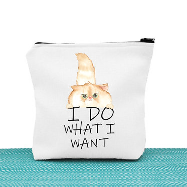 Cosmetic toiletry bag white cat I do what I want image front view