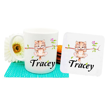 Ceramic coffee mug and drink coaster set personalized cute kitty on branch image front view