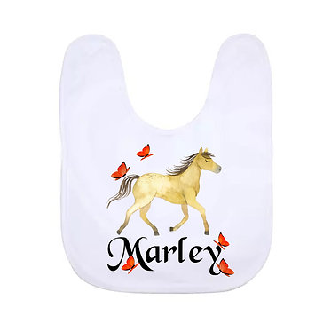 Babies bib personalised white with horse and butterflies image front view