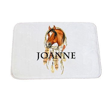 Personalised non-slip bath mat dream catcher horse image front view