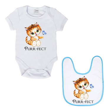 Baby romper play suit white with blue trim cute kitty cat purr-fect image front view