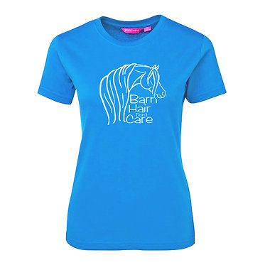 Ladies slim fit t-shirt aqua with a cute horse and quote barn hair don't care image front view