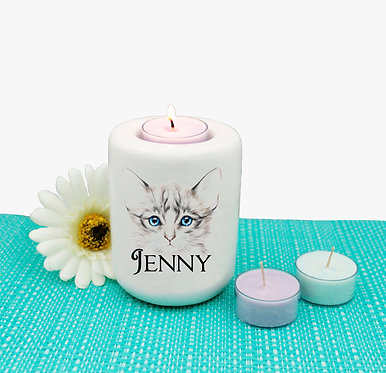 Personalized ceramic tealight candle holder blue eyed kitten image front view
