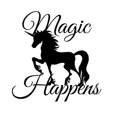 Unicorn vinyl decal sticker with quote magic happens in black front view