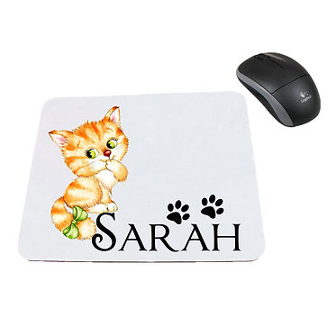 Personalized computer mouse pad with cute kitty with bow image front view