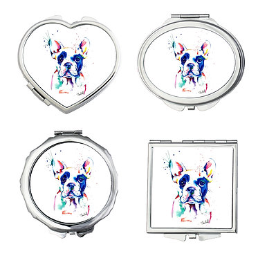 Dog gift set of four compact mirrors round, square, oval, heart painted rainbow dog front view