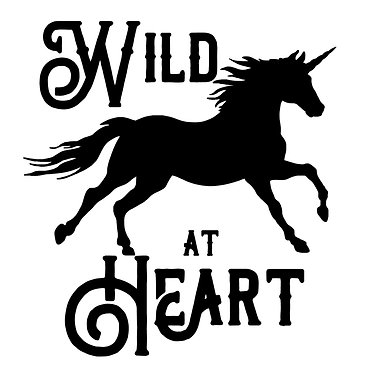 Unicorn with quote wild at heart vinyl decal sticker in black front view