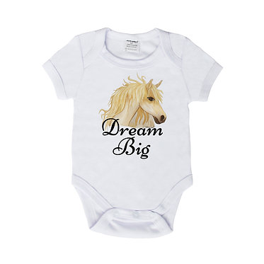 "Baby romper play suit white with hand painted horse and quote ""dream big"" image front view"
