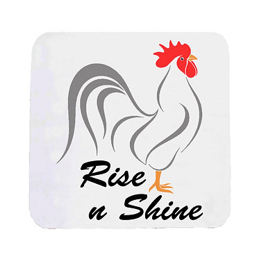 Neoprene drink coaster with rooster image and rise n shine text front view