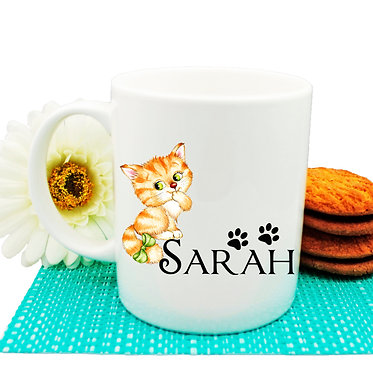 Ceramic coffee mug personalized with cute kitty with bow image front view