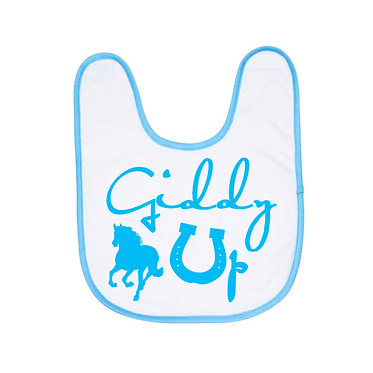 Babies bib white with blue trim giddy up horse image front view