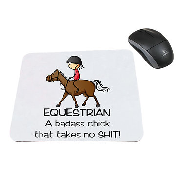 Neoprene computer mouse pad equestrian badass chick that takes no shit! image front view