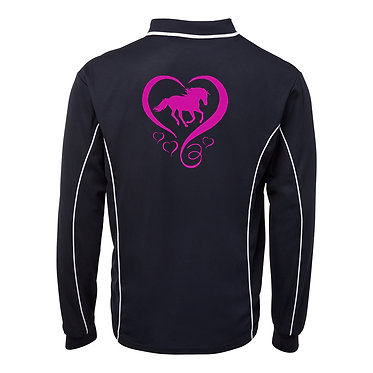 Adults long sleeve polo shirt black hot pink horse and hearts image back view