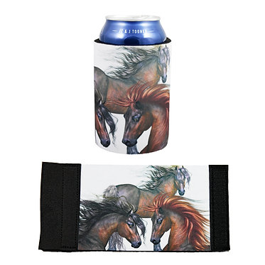 Neoprene stubby cooler with three horses image front and flat view