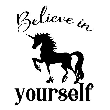 """Unicorn with quote """"believe in yourself"""" vinyl decal sticker in black front view"""