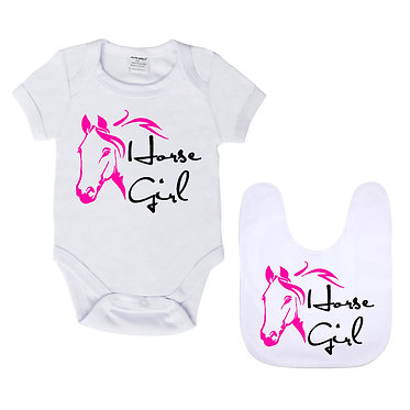 Baby romper play suit and matching bib gift set white with hot pink horse girl image front view