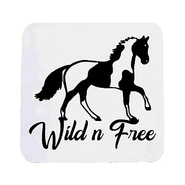Neoprene drink coaster nonslip paint horse wild n free image front view